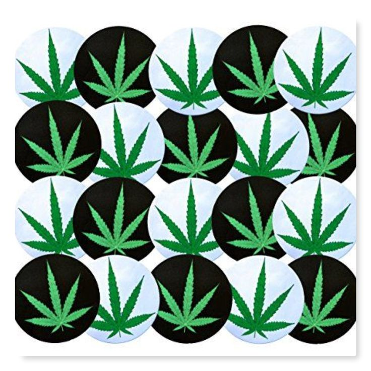 Green White and Black Weed Leaf Buttons -