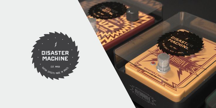 """Disaster Machine is a non-existent guitar effects concept brand created by Johann Vernizzi. The packaging features a un-traditional, colorful, and  rock 'n' roll design.      """"It all started with the brand concept. The main goal was to create a     logo that would represent the brand: raw, aggressive and noisy. So, the     logo is basically formed by a 'iron forged' font, held inside a     chainsaw.      The second step, was to design the products. They all have a similar     base, but ..."""