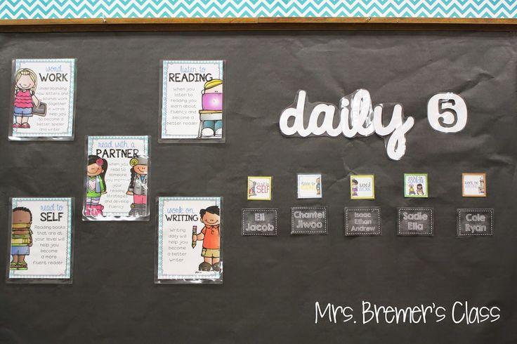 Mrs. Bremer's Classroom reveal! Daily 5 Board using Creative Teaching Press's Chevron