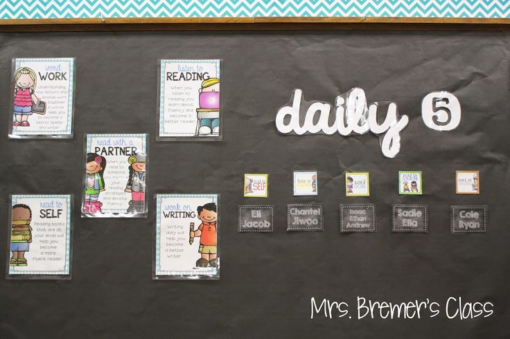 Mrs. Bremer's Classroom reveal! Daily 5 Board using Creative Teaching Press's Chevron