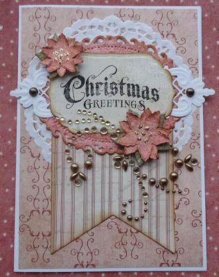 Lovely Shabby Christmas Card...Liftet julekort.  Could use for any occasion.