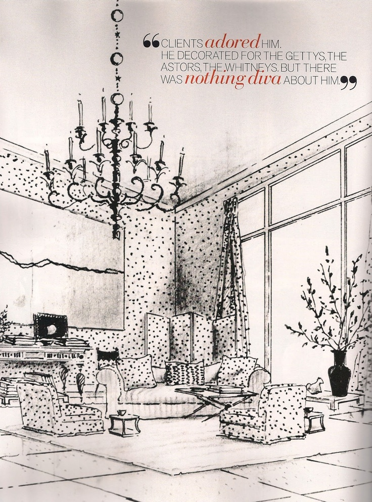 Rendering by Albert Hadley  now in the collection of the New York School of Interior Design.