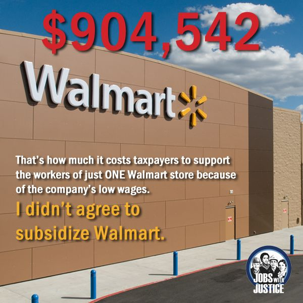 That Cheap Stuff You Just Bought At Walmart? Turns Out It Cost $6,000 More Than You Thought. According to a Congressional study, $6,000 is the average amount taxpayers are being dinged per employee. Walmart's wages and benefits are so low, it forces workers to go on Medicaid and receive housing assistance, childcare subsidies, food stamps, and more.