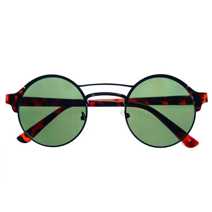 #steampunk #retro #vintage #designer #fashion #round #sunglasses #circle #black #green #lens
