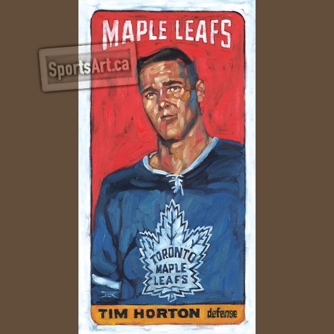 """Tall Boy Tim"" 12x24"" hockey card painting Jeremie White of Toronto Maple Leafs legend Tim Horton."