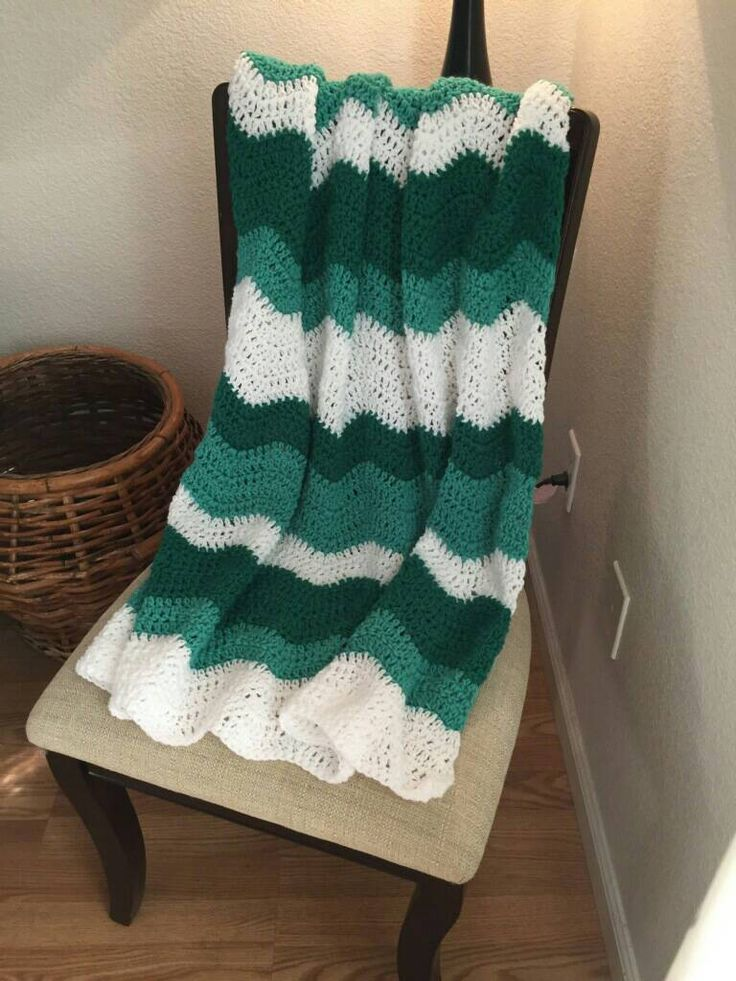 Excited to share the latest addition to my #etsy shop: Green and White Hand Crocheted Chevron Afghan http://etsy.me/2C7Wbkp #housewares #bedroom #bedding #green #toddler #chevron #white #babyshower #no