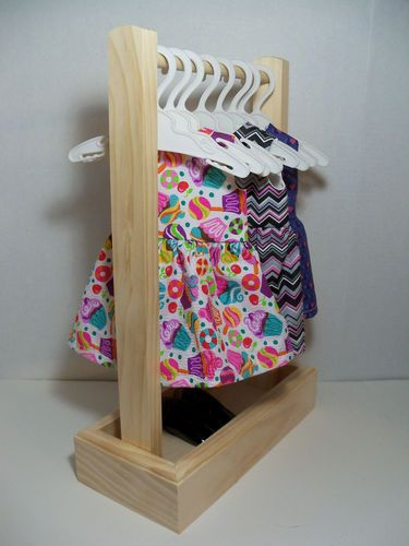 """Doll Clothes Rack & 8 Hangers made for 18"""" dolls like American Girl Doll"""