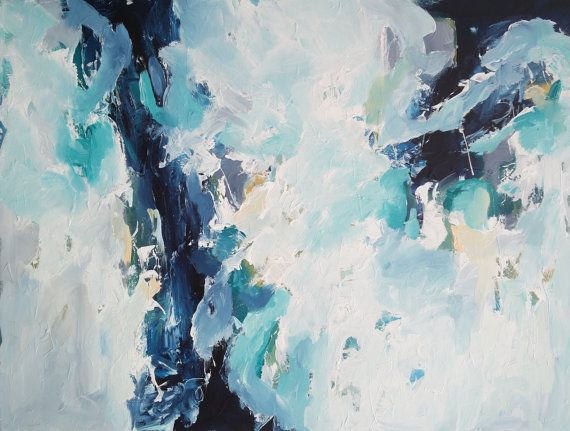 LARGE ABSTRACT Painting Blue Green Abstract Art by FineArtSeen