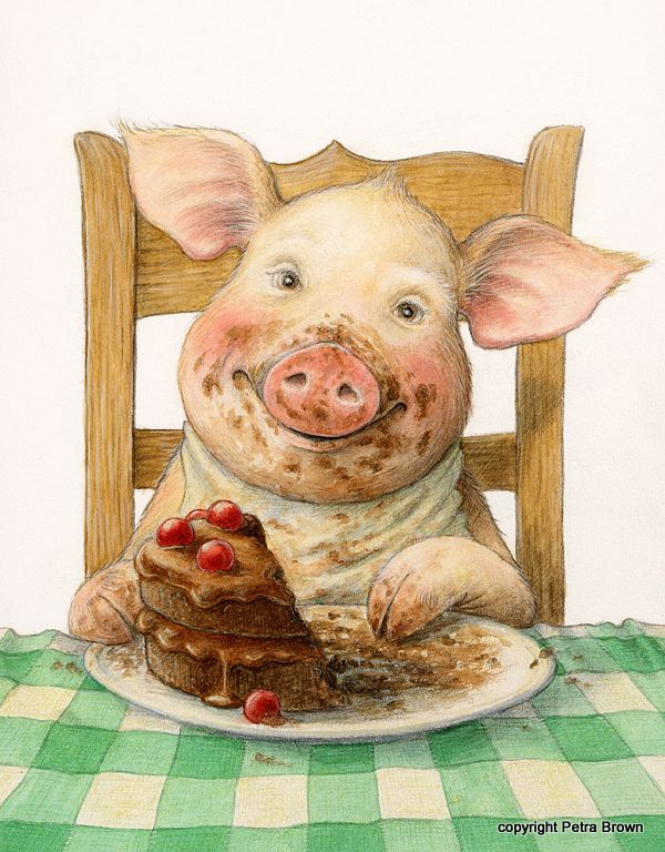 This lil pig is super cute... looks like a kid sitting there with a smirk on his face. ha! Portfolio - Petra Brown, Children's Book Illustrator