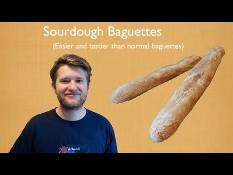 Sourdough baguettes: Ingredients:   - 200g white bread flour  - 1 ladle sourdough starter  - 125 ml lukewarm water  - 1/2 tsp salt    utensils:  - baguette baking tray    Blog:  http://thecoolkitchenandmore.blogspot.co.uk/    Twitter:  https://twitter.com/HDennemeyer    Facebook:  https://www.facebook.com/TheCoolKitchenAndMore    Google +:  https://plus.google.com/u/0/      Please tell u...