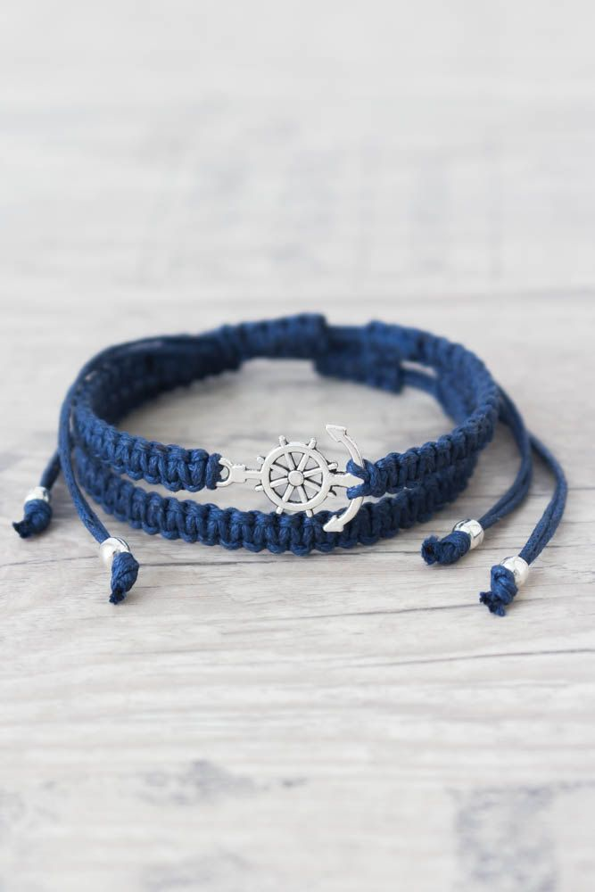 Nautical bracelet Macrame bracelet Anchor bracelet Indigo bracelet men Sailor gift Adjustable bracelet Matching couple bracelets - set of 2 by ElvishThings on Etsy