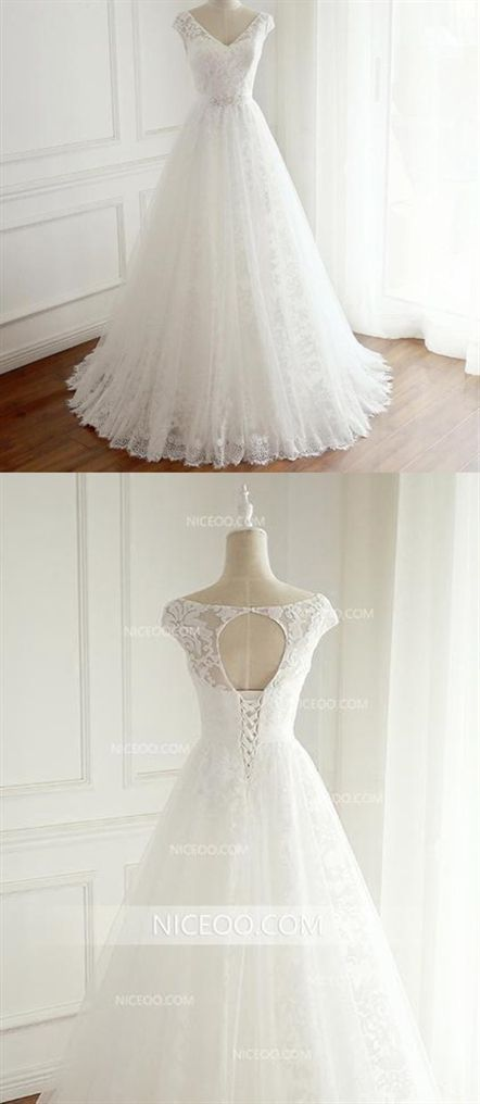 d66b7cf174 A Line V Neck Cut Out Sleeveless Lace Wedding Dresses Best Bride Gown # wedding #