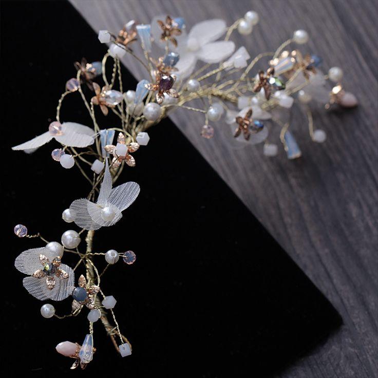 beautiful bride handmade silk yarn pearl hoop headdress flowers Korean bridal hair ornament wedding accessories bridal crown-in Hair Jewelry from Jewelry & Accessories on Aliexpress.com | Alibaba Group