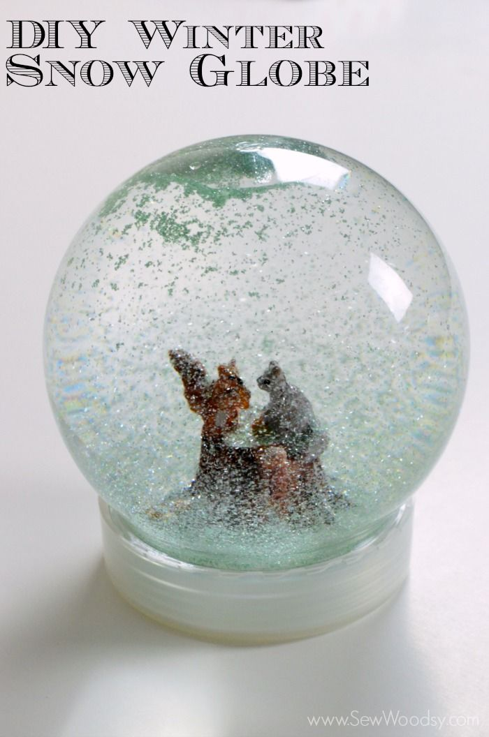 Tutorial here: http://www.instructables.com/id/DIY-Glitter-Snow-Globe/. Look for plastic snow globe domes in Michael's during the holiday season or order from here: https://www.etsy.com/listing/95538720/diy-make-your-own-medium-size-snowglobes