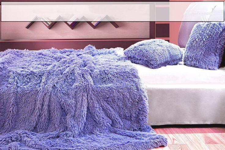 Deky hrubé, teplé a chlupaté s dlouhým vlasem ve světle fialové barvě