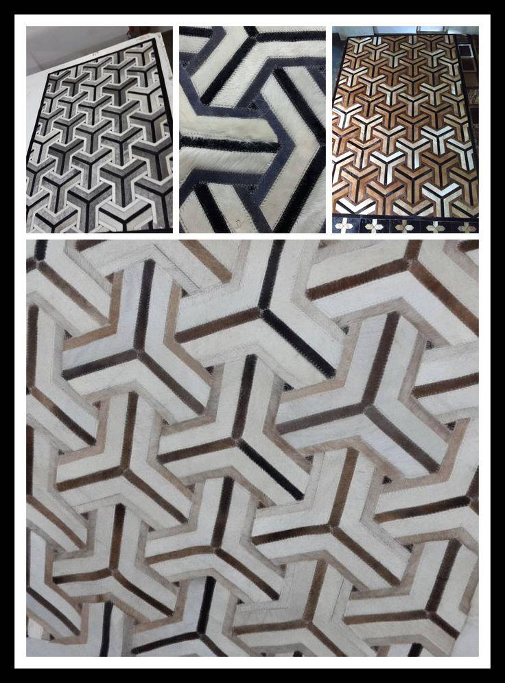 alfombra de piel de vaca patchwork, combinación de beiges y grises y negroa,  5' x 7' modelo GRECIA. ENVIOS GRATIS de Argencuer en Etsy