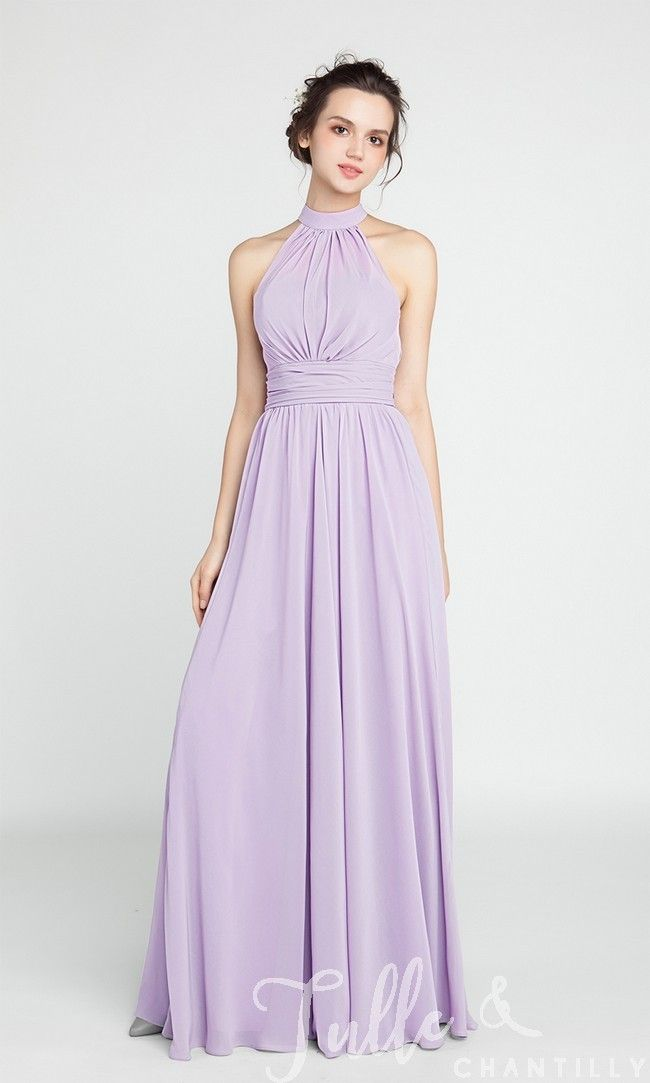Long Chiffon Bridesmaid Dress with Halter Neckline TBQP384 click for 40+ colors