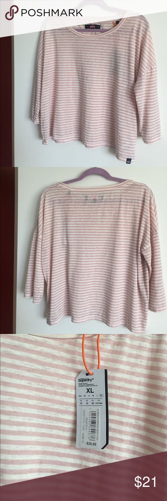 ✨NWT✨Superdry | Burnout Nordic Boxy Top NWT mid-sleeve top from Superdry. Blush/ ecru burnout. Boxy fit. *Stock photos for fit. Superdry Tops Blouses