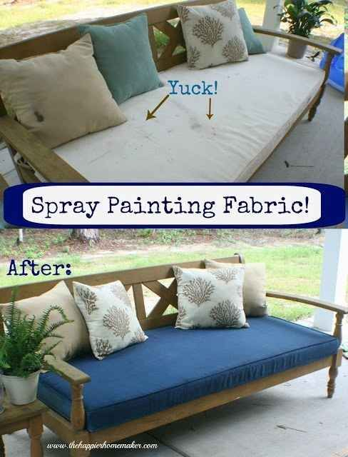 Cover up that gross patio furniture mildew by spray painting DIRECTLY ONTO THE FABRIC.