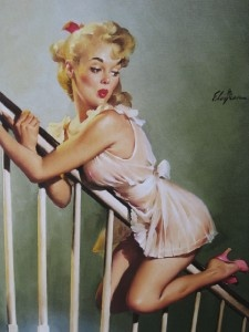 Elvgren Pinup Girl Art Hot Blonde Sliding Down Bannister Look Out Below. Hanging by my stairwell.