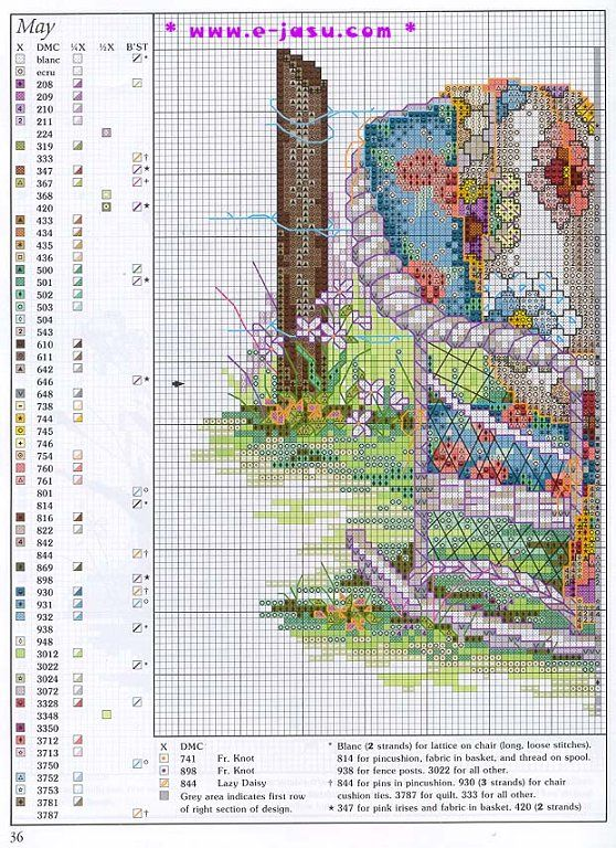 """May - Quilts for All Seasons"" a cross stitch pattern by Paula Vaughan. Saved from facilisimo.com ."