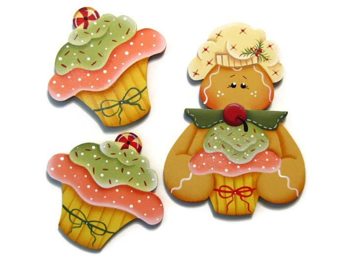 Gingerbread or CupCake Ornament or Fridge Magnet, Handpainted Wood Refrigerator Magnet, Hand Painted Ginger, Tole Decorative Painting by ToleTreasures on Etsy