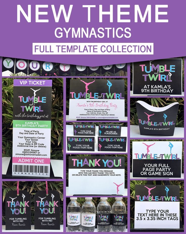 INSTANT DOWNLOADS of Gymnastics Birthday Party theme printables, invitations & decorations. Personalize the templates at home & get your party started now!
