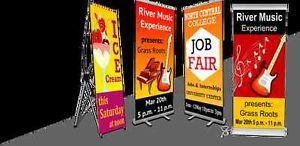 """Roll up banners / Retractable Banner Stands are perfect for exhibition and trade shows.   Features:  ->Adjustable height (upto 92"""")  ->Photographic print seamlessly rolls or retracts into the base for safe storage when not in use.  ->Zippered nylon case for travel & storage free  ->Minimum Size(W/H)- 2' x 3' Only Price $75.  ->Free Shipping above $99"""