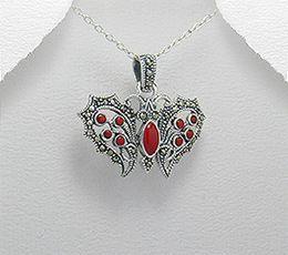 Pandantiv fluture din argint cu marcasite si pietre rosii 17-1-i23202