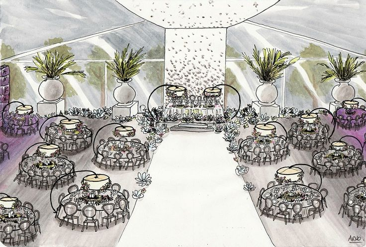#wedding #ceremony #party #drawing #deco #mariage #salle #fête #cérémonie #illustration