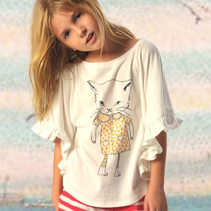 Paper Wings cat with attitude puff sleeve tee | Tinypeople