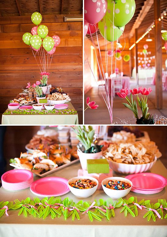 Pink and Green Birthday Party... love the ballons and cutlery sets!