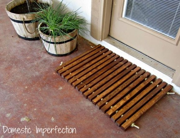 DIY wood and rope doormat by Domestic Imperfection featured @