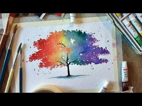 596 Colourful Tree Painting With Watercolor Paint With David