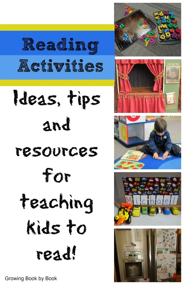 Reading Activities includes tips and resources for teachign kids to read! from Growing Book by Book