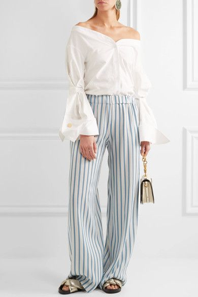 Paul & Joe - Striped Crepe Wide-leg Pants - White - FR