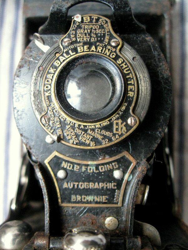 Antique camera Kodak No2 folding Brownie by hopeandjoyhome on Etsy