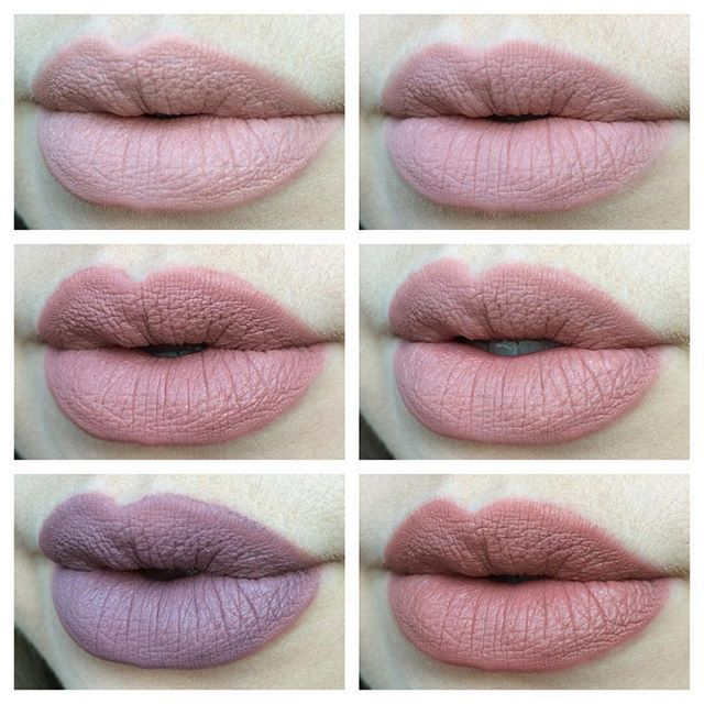 Swatches of the NYX Lingerie liquid lipsticks! Top row, left to right: Baby Doll, Lace Detail. Middle row: Bedtime Flirt, Push-Up. Bottom row: Embellishment, Ruffle Trim. Just filmed a swatch & review video on these too! #nyxlingerie #nyxcosmetics