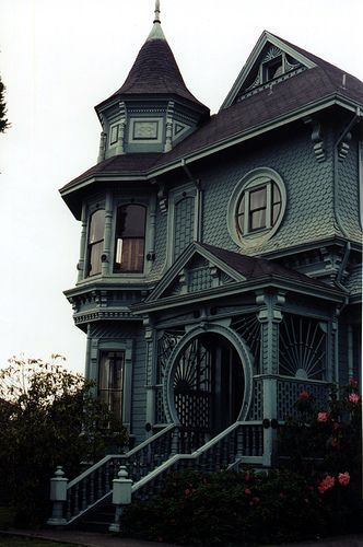 Victorian house in Arcata, CA  photo by Nicholas Lopez, on Flickr - beautiful doorways and windows! Also love the tower and shingle/siding <3