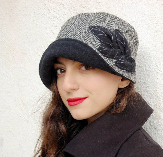 Cloche hat black and white wool herringbone with by WhereIsTheCat