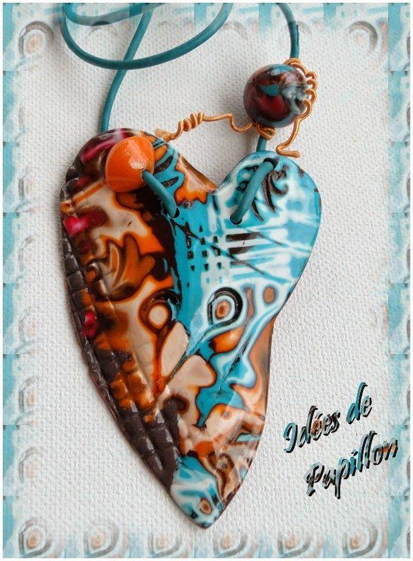 Cr ation de id es de papillon pendentif coeur en p te - Idee creation pate fimo ...