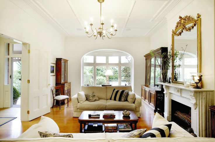 Living room, white walls, arched windows, period features,   Constructed by Classic Projects