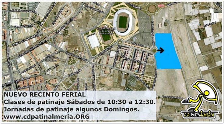 Ubicación y horarios de las clases sobre Patines para niños y adultos los Sábados  en Almería. Club de patinaje CD. Patinalmeria