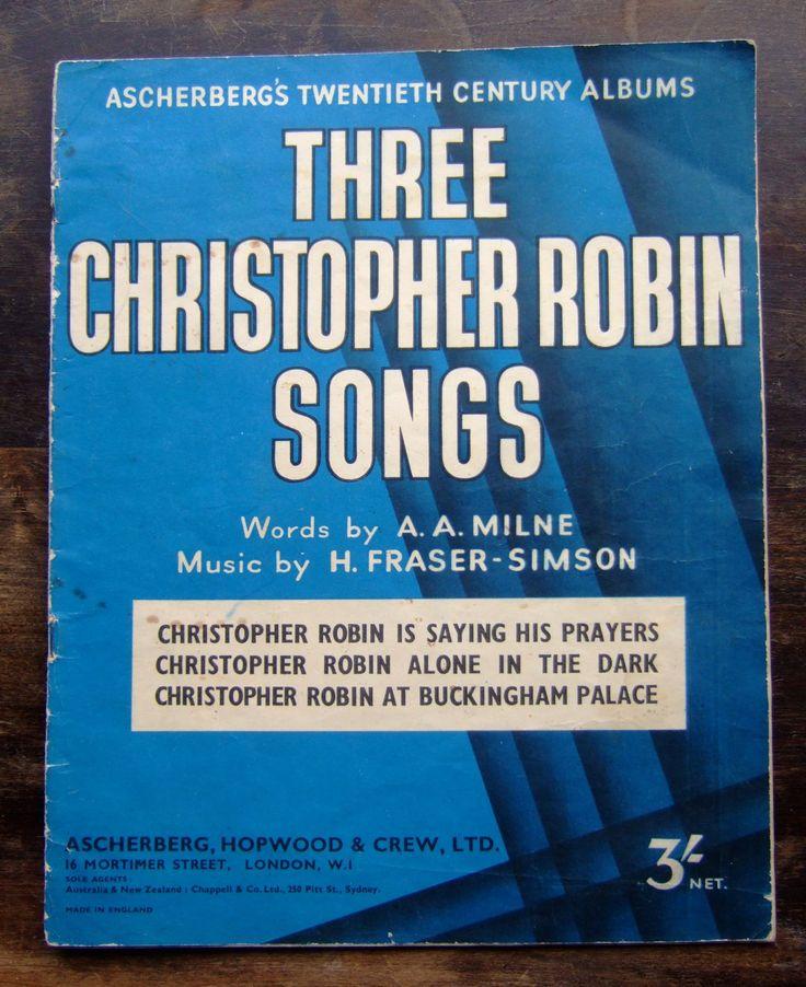 A A Milne - Three Christopher Robin Songs - Original 1920s Sheet Music - Pooh by MondoTrashoVintage on Etsy