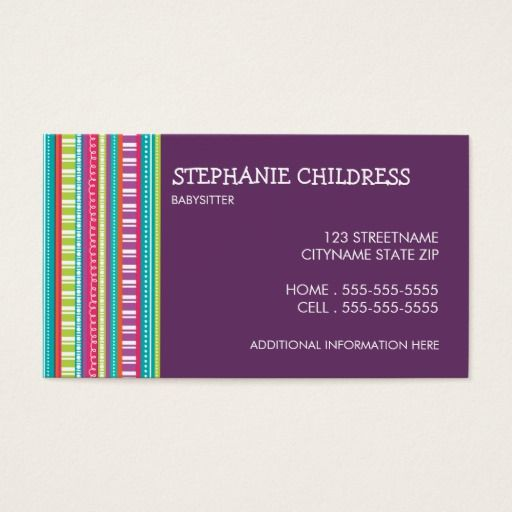 154 best babysitting business cards images on pinterest business colorful stripes babysitting business card reheart Image collections