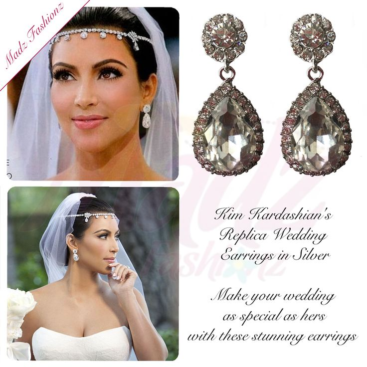 Kim Kardashian Wedding Silver Stud Statement Earrings