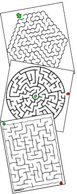 This is pretty sweet! 6,000 printable mazes. This would be fun to put in sheet protectors and use dry erase markers.