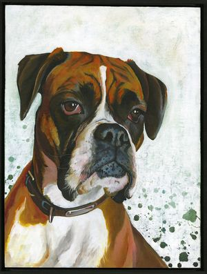 """A Boxer titled """"Stay With Me"""". Original acrylic painting by Angie Carrier"""