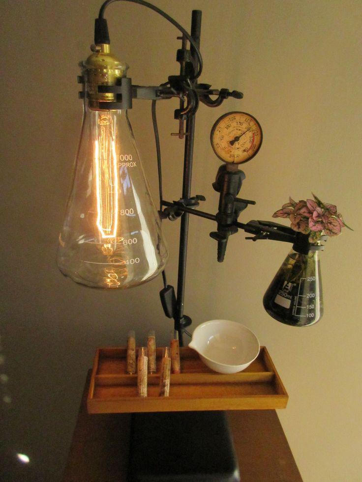 Mini laboratory lamp. Steampunk industrial. Scientific chemistry modern vintage design.