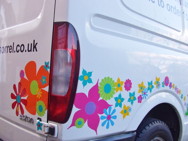 Big colourful bold flower vinyl car stickers by hippy motors http www